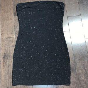 Black strapless body con dress